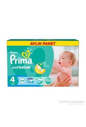 Prima Bebek Bezi Aktif Bebek Aylık Paket 4 Beden 99 Adet