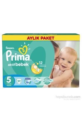 Prima Bebek Bezi Aktif Bebek Aylık Paket 5 Beden 81 Adet