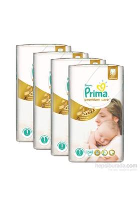Prima Bebek Bezi Premium Care Ekonomi 4'lü Paket Yenidoğan 1 Beden 216 Adet