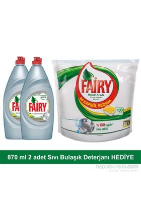 Fairy Hepsi Bir Arada Bulaşık Makinesi Deterjanı Kapsülü 100 Yıkama + 2 adet Fairy Platinum Sıvı Bulaşık Deterjanı Limon 870 ml