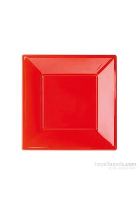 KullanAtMarket Kırmızı Küçük Plastik Kare Tabak 8 Adet