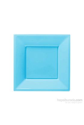 KullanAtMarket Bebek Mavisi Küçük Plastik Kare Tabak 8 Adet