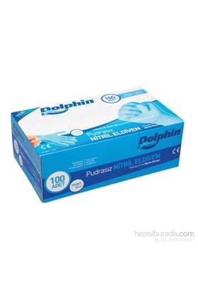 KullanAtMarket Dolphin Pudrasız Mavi Nitril Eldiven / M 100 Adet