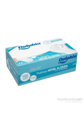 KullanAtMarket Dolphin Pudrasız Beyaz Nitril Eldiven / M 100 Adet