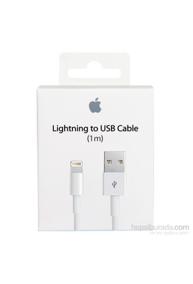 Apple Lightning Data Kablosu iPhone 5 / 5s / SE / 6 / 6 Plus / 6S / 6S Plus / 7 / 7 Plus / 8 / 8 Plus / X MD818ZM/A (Kutulu) - (İthalatçı Garantili)