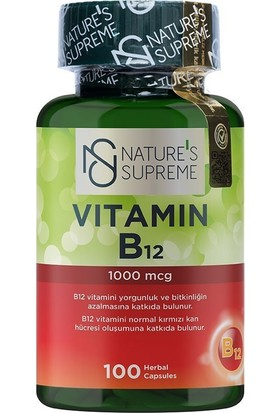 Nature's Supreme Vitamin B12 1000 Mcg 100 Kapsül