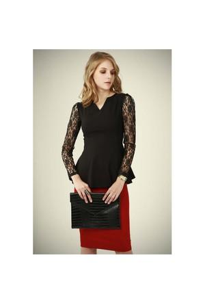 Ervans Elegant Bluz Siyah