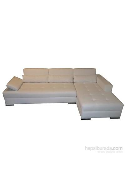 White Leather Köşe Koltuk