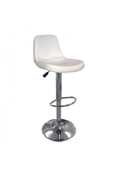 Büromotto Bar Taburesi, Amartisörlü Deri Bar Sandalyesi - Beyaz