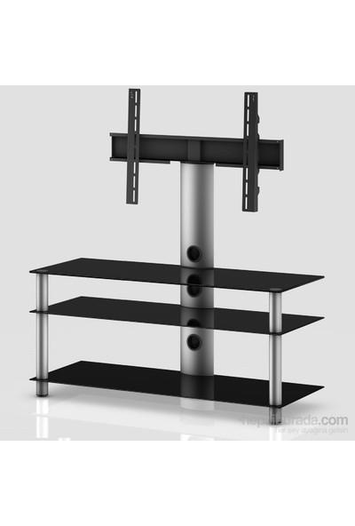 Sonorous Neo 1103-B-Slv Gri Alüminyum Gövde , Siyah Cam Askı Aparatlı Tv Sehpası
