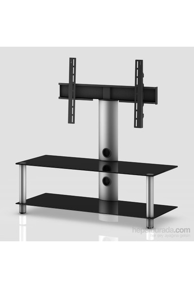 Sonorous Neo 110-B-Slv Gri Alüminyum Gövde , Siyah Cam Askı Aparatlı Tv Sehpası