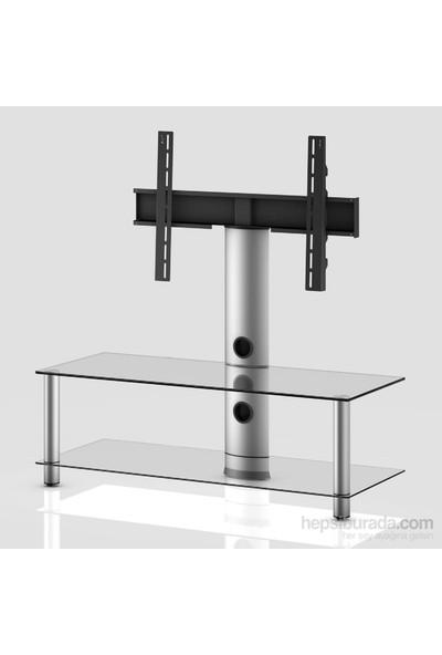 Sonorous Neo 110-C-Slv Gri Alüminyum Gövde , Şeffaf Cam Askı Aparatlı Tv Sehpası