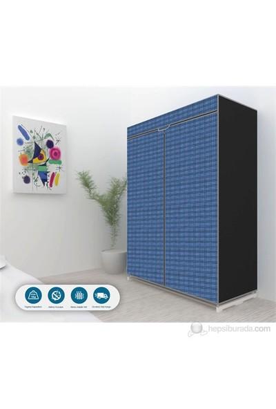 Prado Ekose Çelik Profilli Bez Dolap - Mavi