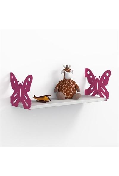 Decormet Kelebek Raf ve Kitaplık Seti 20X 60 Pembe - P.Beyaz