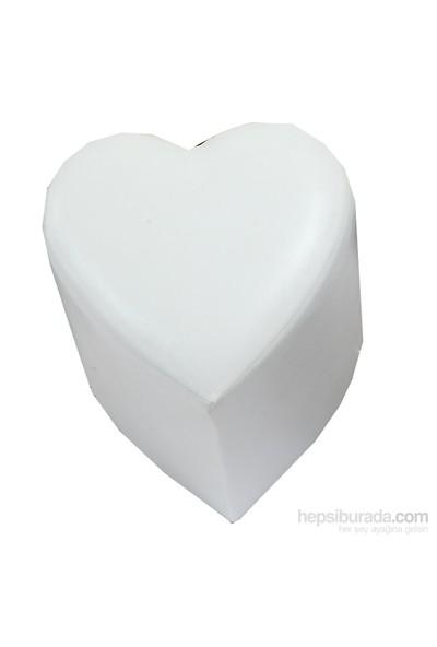 Deri Kalp Puf Beyaz