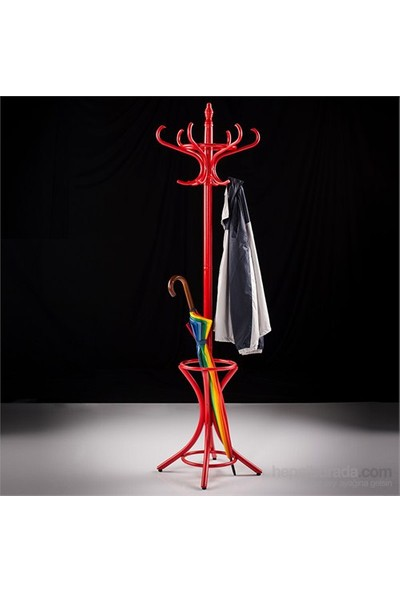 Adore Handy Mate Dorya Klasik 12li Ahşap Askılık - Kırmızı