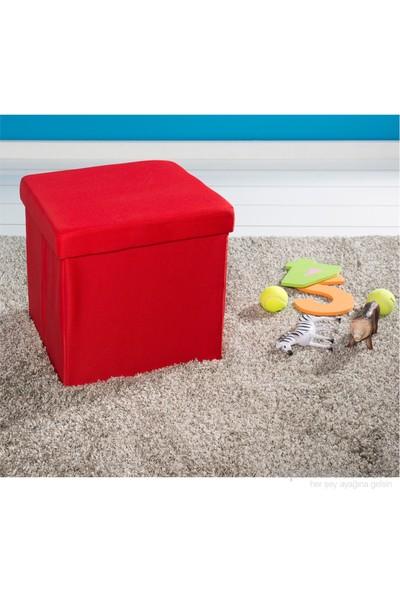 Handy Mate Oturak Kutu 38X38x38 Cm Kumaş Kırmızı
