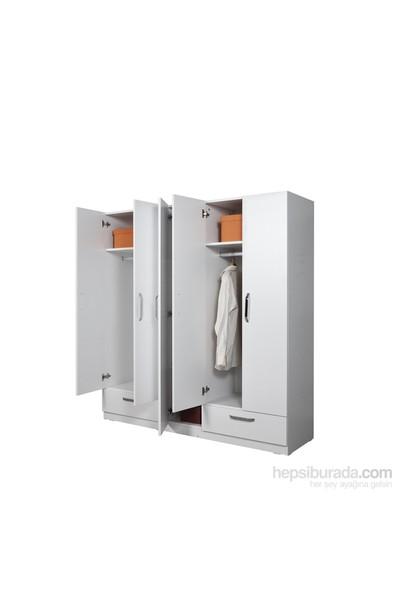 Hepsi Home Smart Line 5 Kapaklı 2 Çekmeceli Gardırop - Beyaz