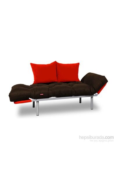 Kombin Kanepe - Metal - Kahverengi-Kırmızı