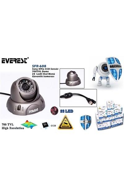 Everest SFR-608 Sony Effio CCD Sensör 6mm 700 TVL Dome 23 Ledli Osd Menü Güvenlik Kamerası