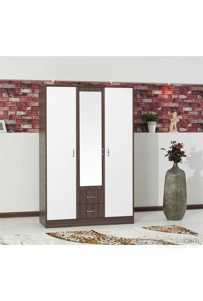 Hepsi Home Desing Aynalı 3 Kapaklı 2 Çekmeceli Gardırop - Beyaz Ceviz