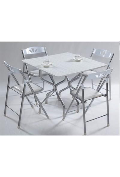 Vural Ahşap Katlanır Kırma Masa Sandalye Takımı-Kare Beyaz