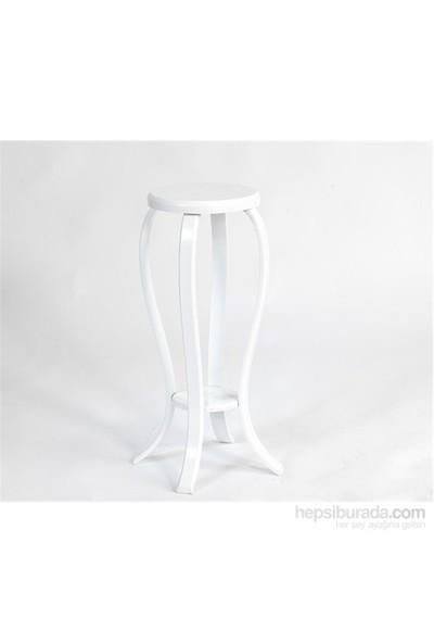 Evmanya Haus Falez Yuvarlak Saksılık Çiçeklik Yan Sehpa Beyaz