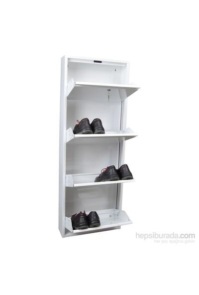 Kilitli Dikey 4'Lü Metal Ayakkabılık Beyaz