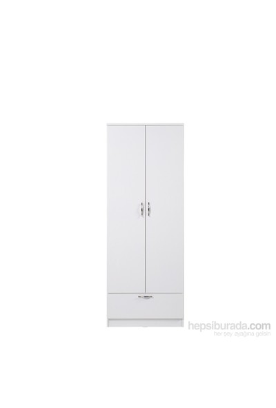 Hepsiburada Home Dream 2 Kapaklı Çekmeceli Gardırop - Beyaz