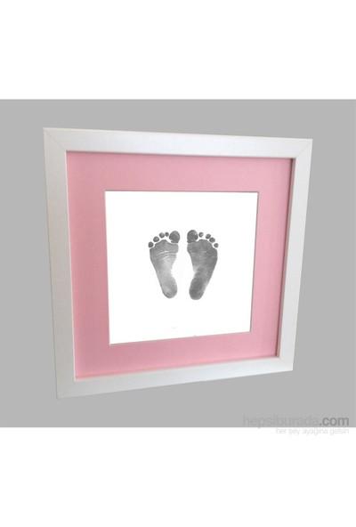 Küçük İzler Beyaz Çerçeveli İnkless Print El-Ayak İzi Alma Seti