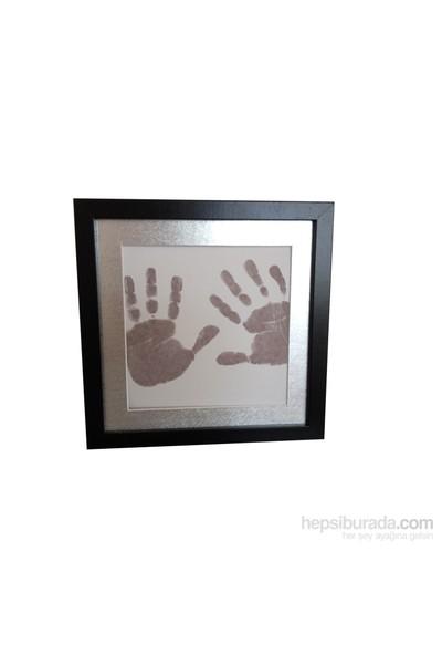 Küçük İzler Siyah Çerçeveli İnkless Print El-Ayak İzi Alma Seti