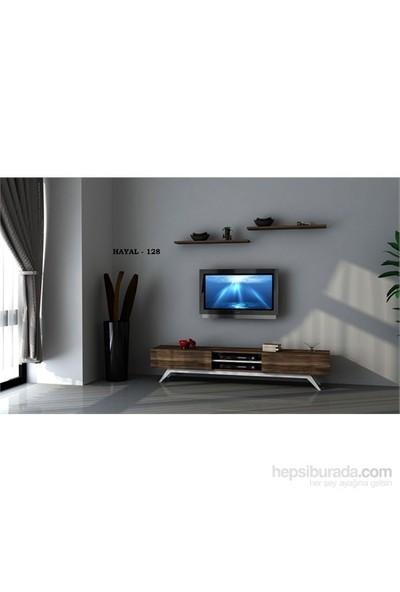 Hayal 128 Tv Ünitesi Leon Ceviz/Parlak Beyaz