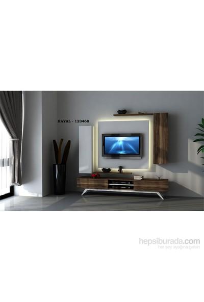 Hayal 123468 Tv Ünitesi Leon Ceviz/Parlak Beyaz