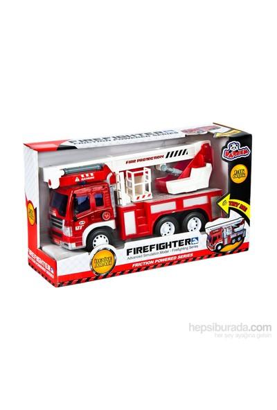Vardem Fire Fighter Sürtmeli 1:16 İtfaiye Aracı Sesli Işıklı Ve Vinçli
