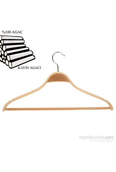 Nyn Ahşap 5'Li Naturel Barlı Elbise Gömlek Askısı