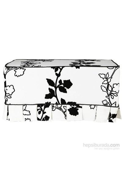 Yastıkminder Koton Flok Çiçek Desenli Siyah Fitilli Beyaz Puf