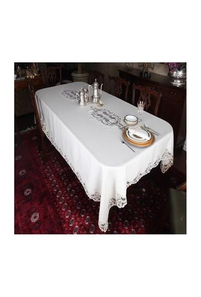 Mella Home Osmanlı Dantelli Masa Örtüsü-Peçeteli 170X265