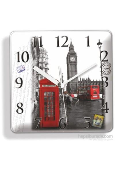Mıknatıslı ve Askılı Londra Telefon Kulubesi Buzdolabı Saati