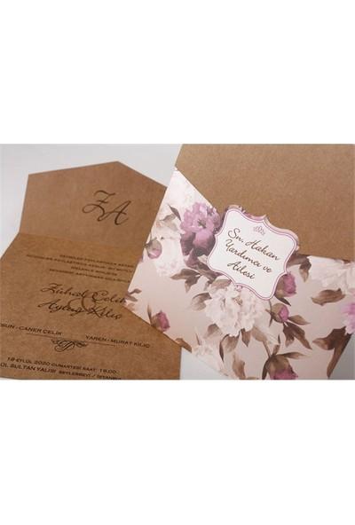 Çiçek Süslemeli Rustik Nikah Davetiye 100 Adet Zarfsız