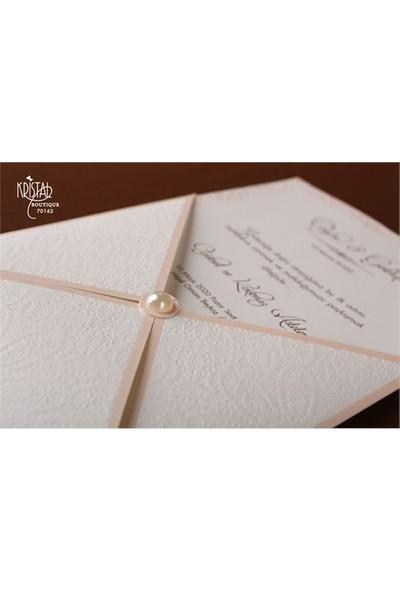 İncili Sıradışı Tasarımlı Sade Düğün Davetiye 100 Adet Zarfsız