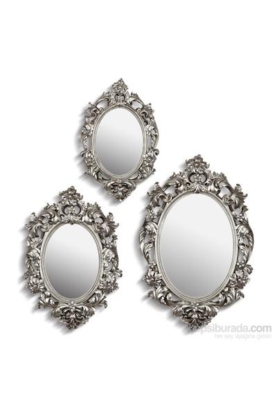 Noble Life Üçlü Barok Ayna - Gümüş