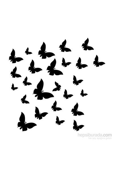 Kelebekler Kadife Duvar Sticker 25 Adet