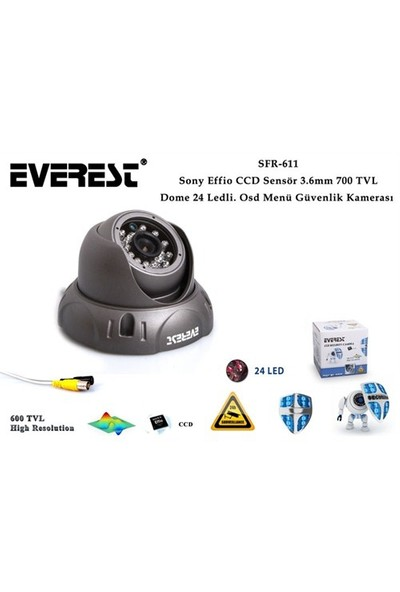 Everest Sfr-611 Sony Effio Ccd Sensör 3.6Mm 700 Tvl Dome 24 Ledli. Osd Menü Güvenlik Kamerası