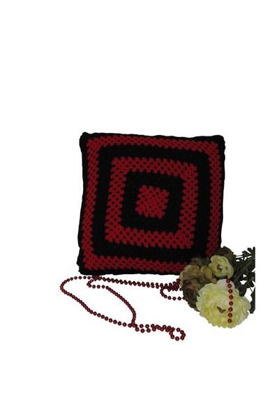 Pafuli Kara Kızıl 2'Li El Örgüsü Yastık