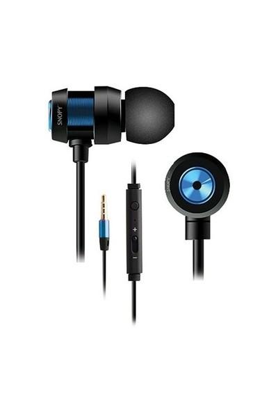 Snopy Sn-J01 Mobil Telefon Uyumlu Kulak İçi Mavi Mikrofonlu Kulaklık