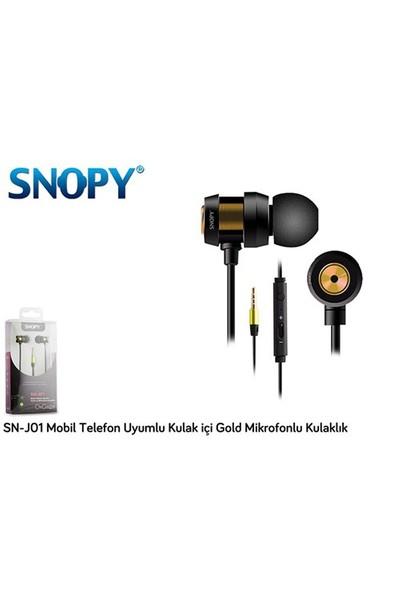 Snopy Sn-J01 Mobil Telefon Uyumlu Kulak İçi Gold Mikrofonlu Kulaklık
