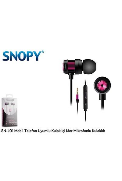 Snopy Sn-J01 Mobil Telefon Uyumlu Kulak İçi Mor Mikrofonlu Kulaklık