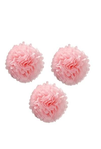 Pandoli 3 Lü Pembe Renk Pelur Kağıt Ponpon Çiçek Asma Süs 25 Cm
