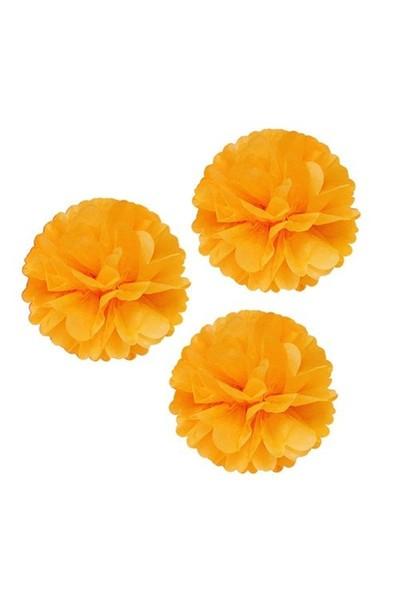 Pandoli 3 Lü Turuncu Renk Pelur Kağıt Ponpon Çiçek Asma Süs 25 Cm