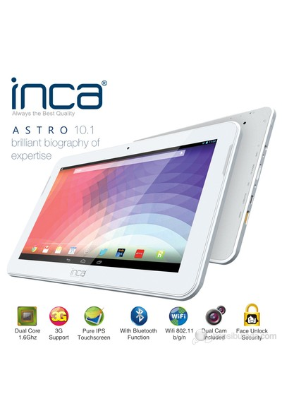 "Inca Astro 16GB 10.1"" IPS Beyaz Tablet + 4 Adet Aksesuar Hediye"